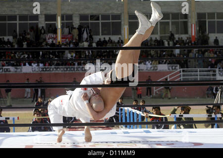 "PESHAWAR, PAKISTAN, DEC 05: Japanese wrestlers in action during ""Wrestling for Peace  Festival 2012"" held at Qayyum - Stock Photo"