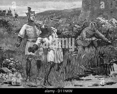 Illustration Of The Heroism Of Hubert St Clair At The siege Of Bridgenorth Castle - Stock Photo
