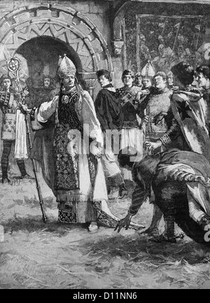 Illustration Of Archbishop Thomas Becket Before His Enemies In The Council Hall After Resisting Decisions Of King - Stock Photo