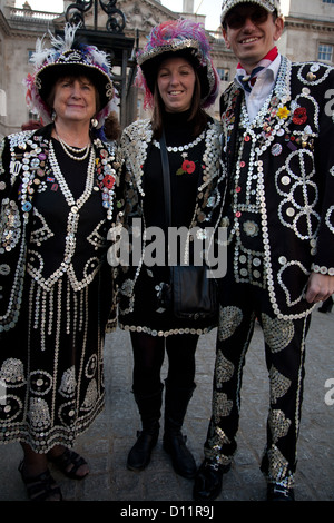 Pearly King and Queens on Remembrance Day, Hyde Park, London, Greater London, England, United Kingdom - Stock Photo