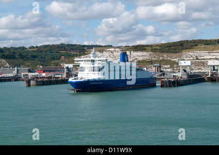 DFDS Seaways Car ferries in the port of Dover in Kent, on the south coast of England - Stock Photo