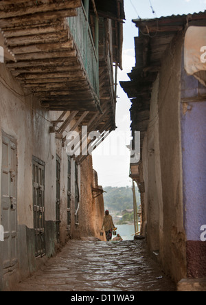 Narrow Street In The Old Town Of Harar, Ethiopia  - Stock Photo