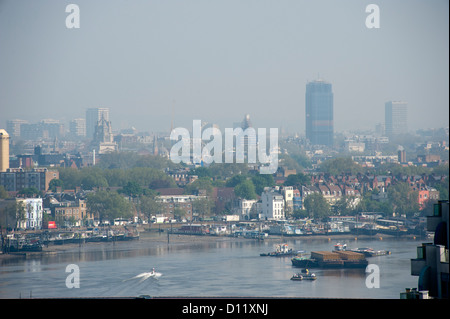 River Thames Chelsea Embankment. - Stock Photo