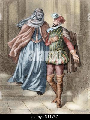 Antonio Perez (1540-1611), Spanish politician. Evasion from prison the evening April 19, 1590 dressed in the costume - Stock Photo
