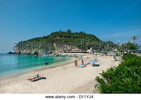 Agios Spiridon Beach, Paleokastritsa, Corfu, Ionian Islands, Greece - Stock Photo