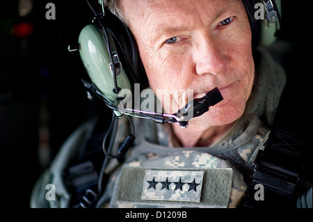 Chairman of the Joint Chiefs of Staff General Martin Dempsey on a UH-60 Blackhawk helicopter February 9, 2012 while - Stock Photo