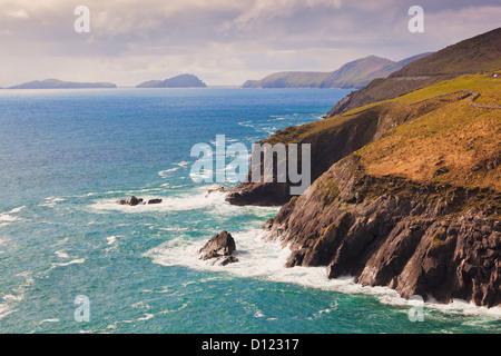View Along The Coast To Blasket Islands On The Horizon Near Slea Head; Dingle Peninsula County Kerry Ireland - Stock Photo