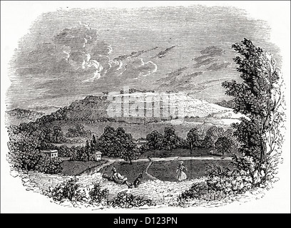 Remains of Old Sarum Iron Age hill fort near Salisbury Wiltshire England UK. Victorian woodcut engraving circa 1845 - Stock Photo