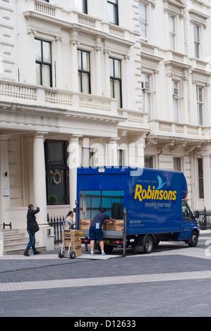 A removal van in South Kensington, London, England, UK - Stock Photo