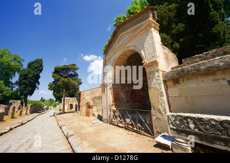 The Roman tombs & mausoleums on the street of Tombs in the Herculaneum cemetry, Pompeii  - Stock Photo
