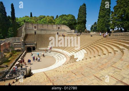The Roman Great Theatre of Pompeii Italy - Stock Photo