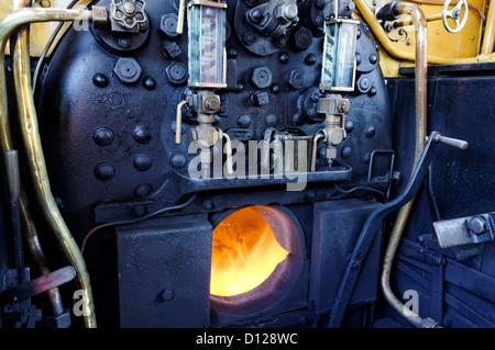 Engine Room of Steam Train, Havenstreet Steam Railway, Isle of Wight, UK, GB. - Stock Photo