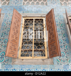 Open Wooden Shutters On A Window At Topkapi Palace; Istanbul Turkey - Stock Photo
