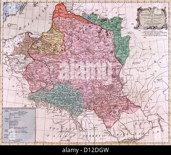 MAP  Map of the Kingdom of Poland : and the Grand Dutchy of Lithuania, circa 1775 - Stock Photo
