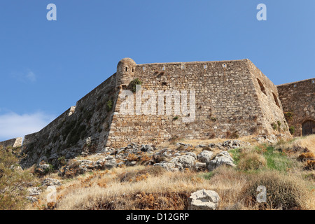 The walls of the Fortezza (the fortress) in the old town in Rethymno, Crete, Greece. - Stock Photo