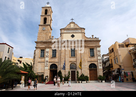 Greek Orthodox Cathedral (Church of the Trimartyri) in Chania on Crete, Greece. - Stock Photo