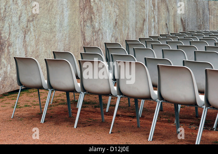 Germany, Dresden, Row of chairs for open air event - Stock Photo