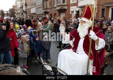 saint nicholas and children - Stock Photo