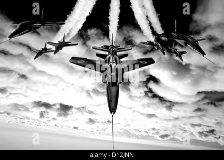 Black and white image of Red Arrows Gnat aircraft used by the aerobatic display team from 1965 to 1978 - Stock Photo