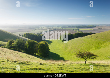 Vale of Pewsey from Knap Hill. Wiltshire. England. UK. - Stock Photo