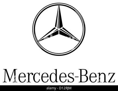 Logo of the make of car Mercedes-Benz of the German motorcar group Daimler AG with seat in Stuttgart. - Stock Photo