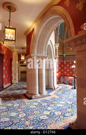 Interior of the newly refurbished St Pancras Renaissance Hotel, London, UK, featuring the grand staircase. - Stock Photo