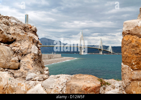 Patras bridge at Greece, view from the castle of Rio - Stock Photo