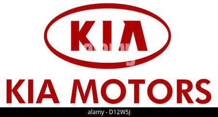 Company logo of the Korean automaker Kia Motors in the Hyundai Kia automotive Group with seat in Seoul. - Stock Photo