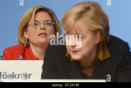 German Chancellor Angela Merkel and CDU Vice chairwoman Julia Kloeckner attend the 25th Federal Party Convention - Stock Photo