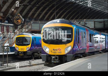 First Transpennine Express Class 185 passenger trains waiting at a platform at York Railway Station, England. - Stock Photo
