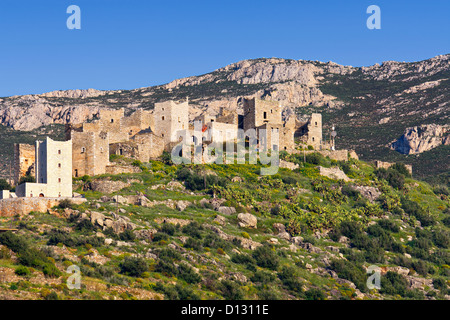 Old traditional tower house village of Vathia at Mani in Greece - Stock Photo