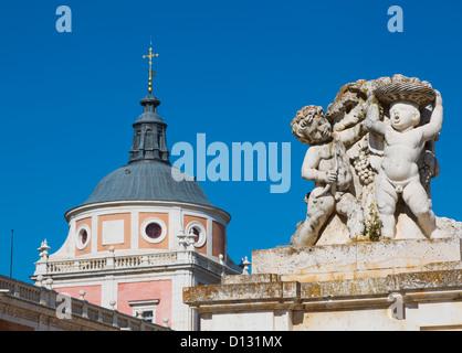 Decorative Statue Of Puttis Royal Palace Of Aranjuez; Aranjuez Comunidad De Madrid Spain - Stock Photo