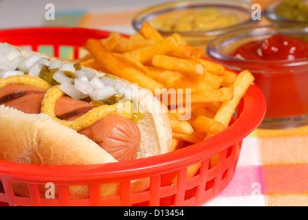 Freshly grilled hot dog with french fries and condiments - Stock Photo