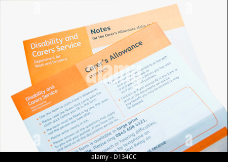 Carer'S Allowance Application Claim Form (Disability & Carers
