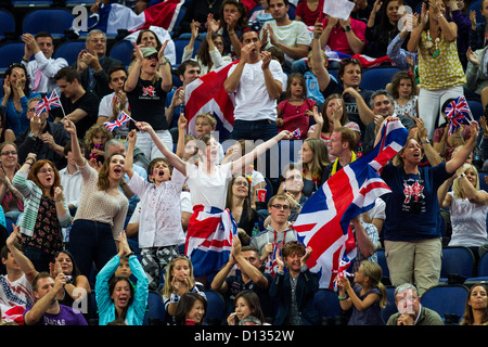 British fans during the Men's Gymnastics Team Final at t he Olympic Summer Games, London 2012 - Stock Photo