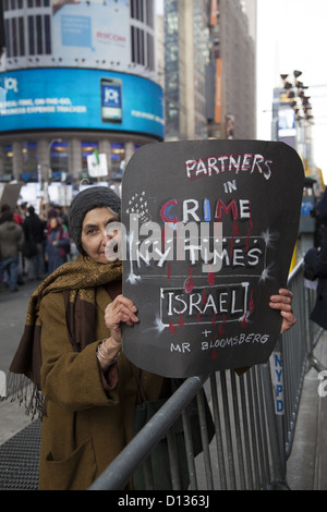 Pro-Palestinian demonstrators  in Times Square, NYC; over the recent upsurge in fighting between Hamas in Gaza and - Stock Photo