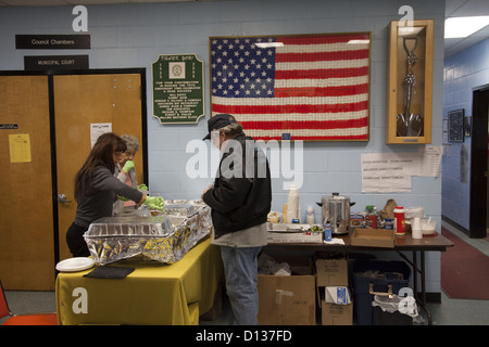 Hurricane Sandy Relief Center along the Jersey Shore in Monmouth County, New Jersey - Stock Photo