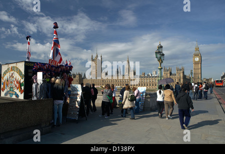 London, United Kingdom, Westminster Bridge and the Houses of Parliament - Stock Photo