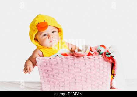 A Six-Month-Old Girl In A Duck Halloween Costume; Fountain Valley California Usa - Stock Photo