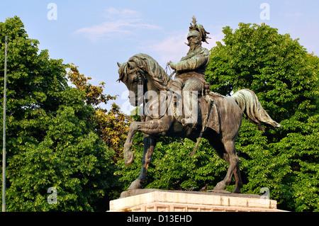 Italy, Veneto, Verona,  Piazza Bra Square, Equestrian Statue, Vittorio Emanuele II Monument - Stock Photo
