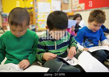 Multi-Ethnic New Canadian Children In An Esl School; Guelph Ontario Canada - Stock Photo