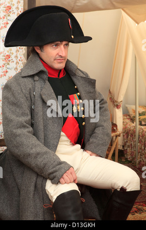Napoleon Bonaparte signing documents inside his tent during the Battle of Borodino in Russia - Stock Photo