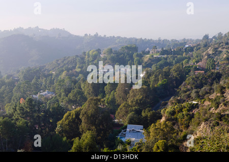 View Of Mountainside Homes From Mulholland Drive; Los Angeles California Usa - Stock Photo