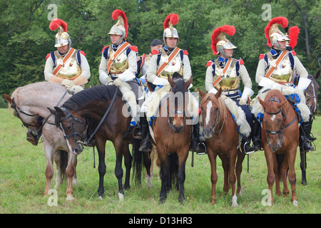 French mounted cavalry soldiers (Cuirassiers) in Borodino, Russia - Stock Photo