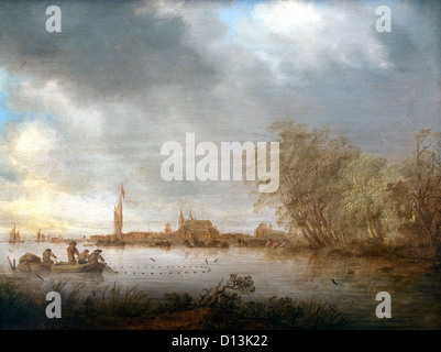 Salomon Jacobsz van Ruysdael 1600 - 1670  River Scene near Deventer 1641  Netherlands Dutch - Stock Photo