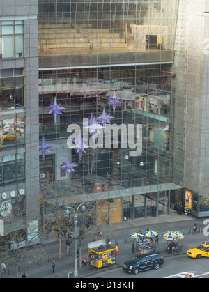 Holiday Star decorations, Time Warner Center at Columbus Circle, NYC - Stock Photo