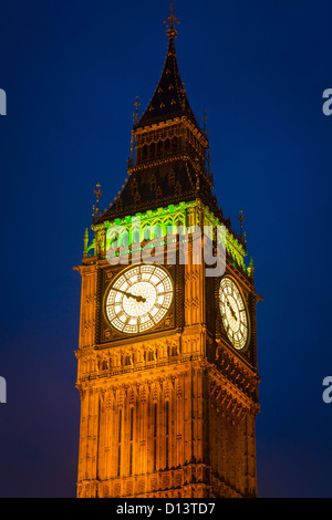 Big Ben is the nickname for the great bell of the clock at the north end of the Palace of Westminster in London - Stock Photo