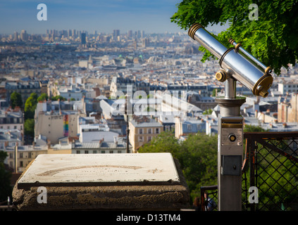 View of Paris from the Butte of Montmartre near Sacre-Coeur - Stock Photo