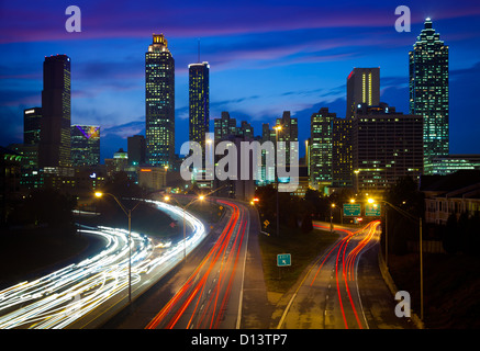 Atlanta downtown by night - Stock Photo