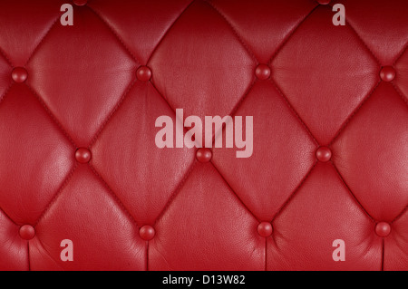 red genuine leather upholstery texture background - Stock Photo